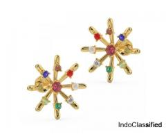 Buy Navratna Jewellery in Gold | Buy Surya Navratna Earrings