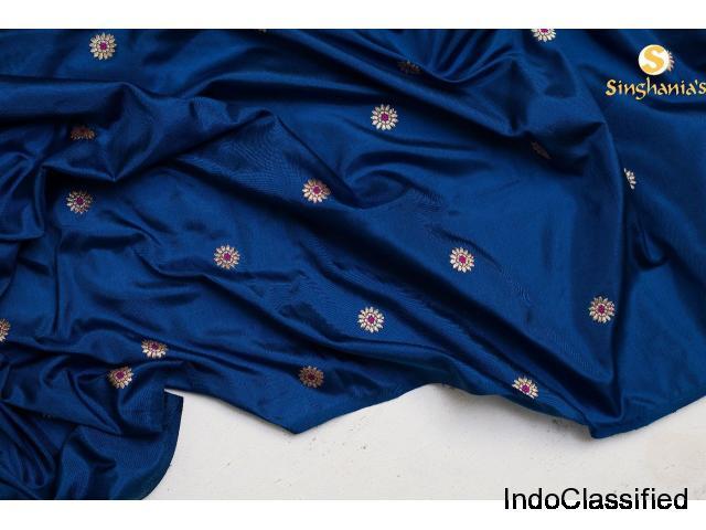 Online shopping for unstitched blue handloom banarasi silk fabric Singhanias 2019