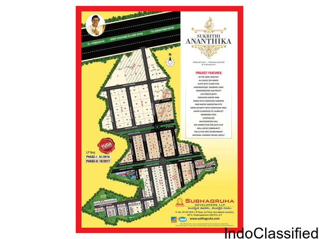 Open Plots for sale in a Gated Community just 3kms from Pendurthi Junction Vizag.
