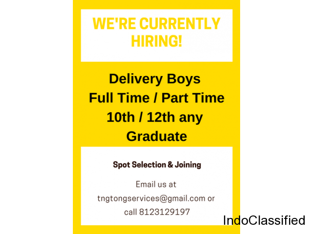 We are hiring Delivery Boys best payouts Join Now!!!