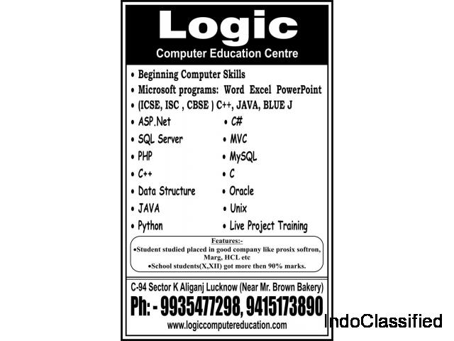 Logic Computer Education offers C,C++,Asp.net,C# Sql Server etc