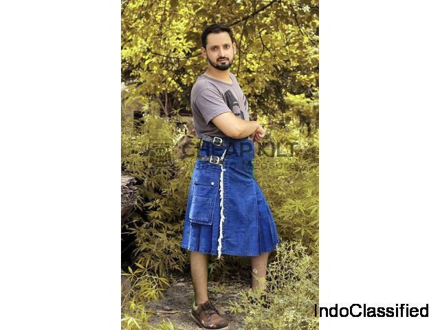 Stylish Blue Denim Kilt - High Quality Kilt - Cheap Kilt