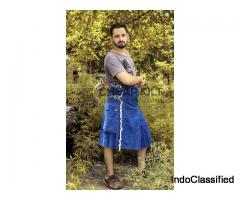 Stylish Blue Denim Kilt - High Quality Kilt - Cheap Kilt