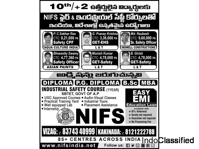 Job oriented Fire and Industrial Safety Courses after 10th or +2 Call  8374340999