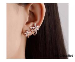 Sterling Silver Flower Earring Cuff/ Climber