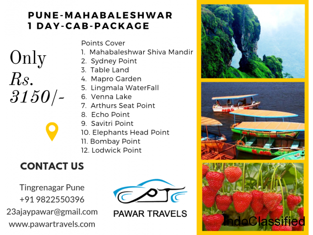 Pune to Mahabaleshwar Cab Package Rs. 3150 PawarTravels
