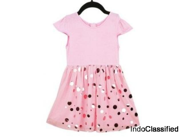 Beautiful Gold Foil Pink Partywear Dress For Kids