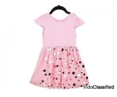 Beautiful Gold Foil Pink Partywear Dress For Kids