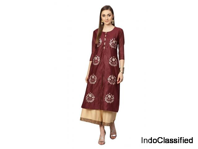 Shop from Best Selections of Silk Kurtis Online At Mirraw