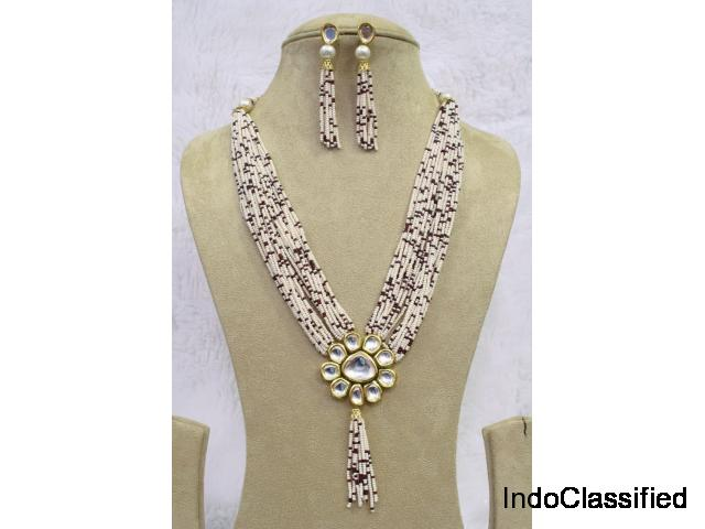 Babosa Sakhi Traditional Kundan Pearl Beads Long String Woman Pendant Set