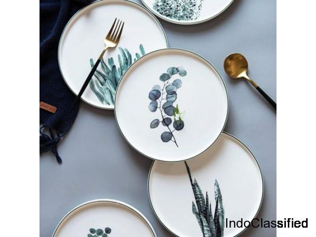 9-inch Japanese Plant Ceramic Dinner Plate