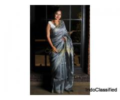 Iron Grey linen Saree