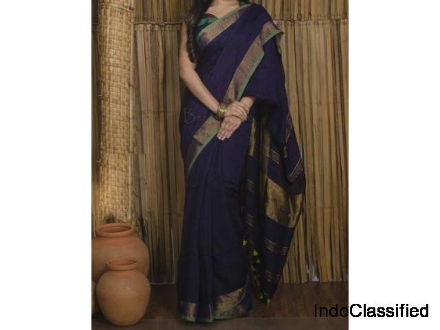 Top Linen Sarees 2019 Online | Handloom Linen Printed Sarees | Paarijaatham