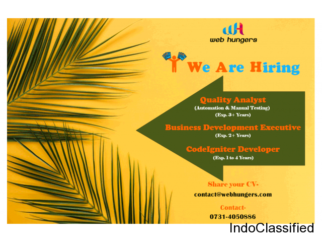 Hire Quality Analyst and Codeigniter & Laravel | Team Leader indore