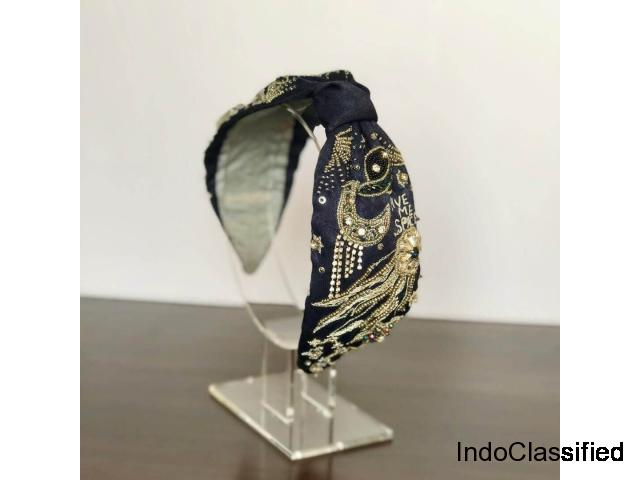 Buy Embellished Cosmos Midnight Blue Turban Headbands for Women: Joey & Pooh