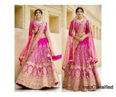 Online Shopping For Pink Raw Silk Lehenga At Vasansi Jaipur Online Store