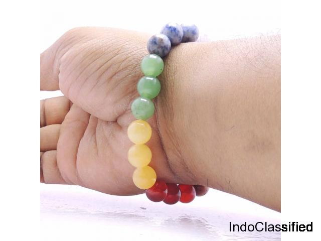 Satyamani Natural Energized Multi Charm 10 mm Bead Bracelet