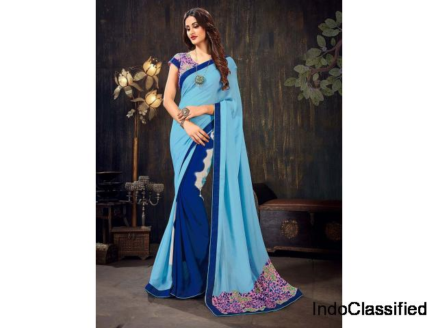 Blue Color Printed Half And Half Saree In Chiffon