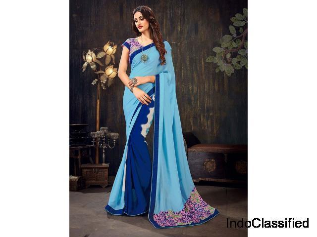Blue Color Printed Half And Half Saree In Chiffon