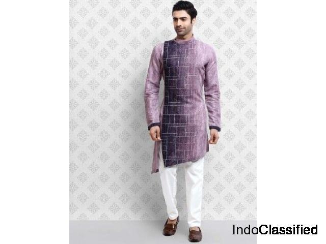Violet Cotton Fabric Digital Printed Festive Kurta Suit