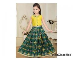 Raw Silk Fabric Green And Yellow Hue Lehenga Choli