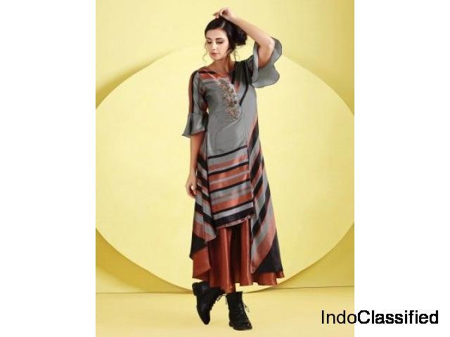 Grey Hue Cotton Silk Designer Kurti