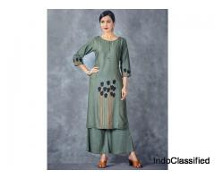 Green Hue Round Neck Cotton Kurti Set