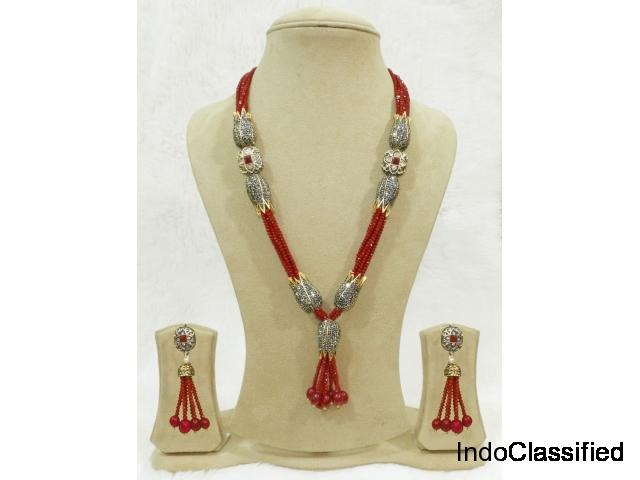 Red Bead Necklace Set Antique Jhumki Indian Wedding Jewellery