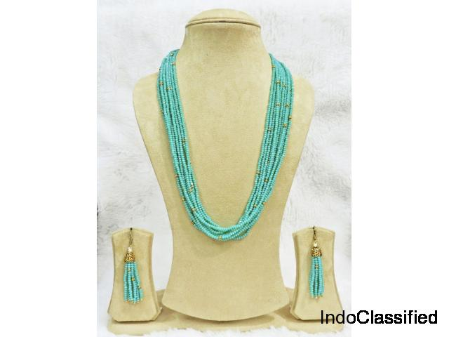 Skyblue Necklace Set High Quality Long Ethnic Indian Jewellery