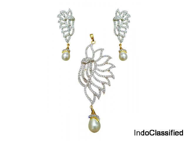 Princess Cubic Zirconium cz Gold plated Pendant set Pearl Drop