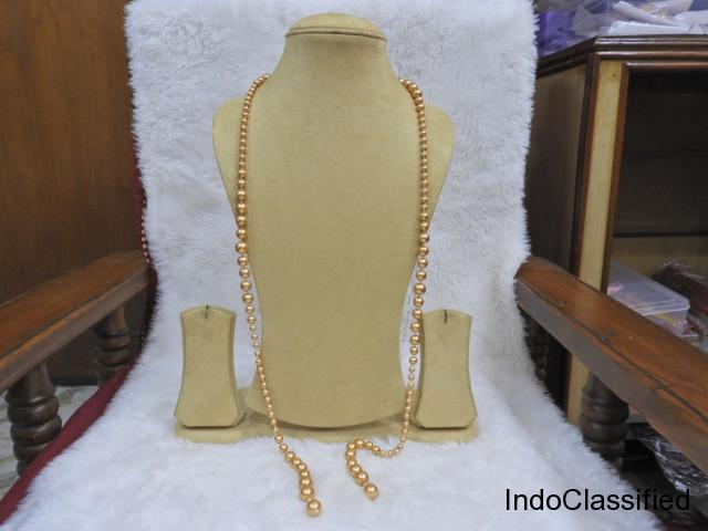 Western Golden Copper Pearl Scarf Style Party Wear Necklace