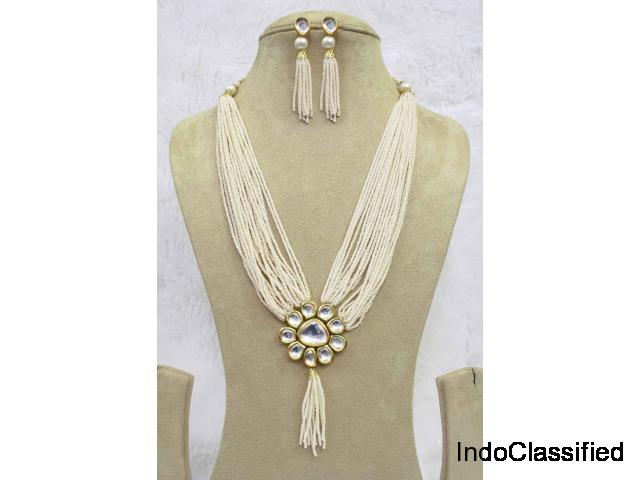 Kundan Pearl Beads Long String Woman Traditional Necklace Set