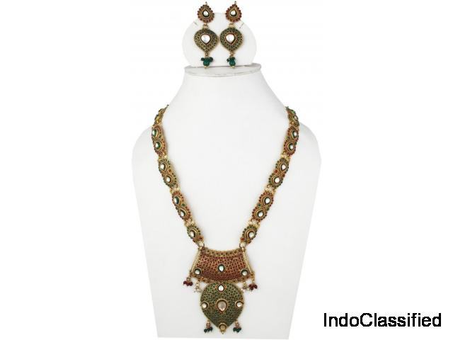 Polki Long Necklace Set Embedded with Red Green polki Stones