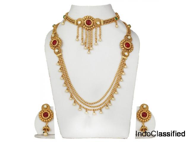 Polki Maharani Bridal Wedding Necklace Set With Choker Combo