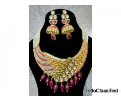 Bollywood Pearl Fusion Choker Wedding Bridal Necklace Set