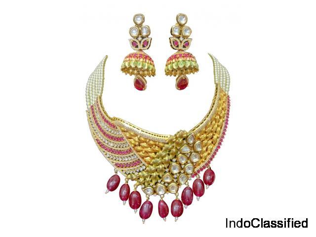 Bollywood Pearl Fusion Choker Wedding Bridal Necklace Set