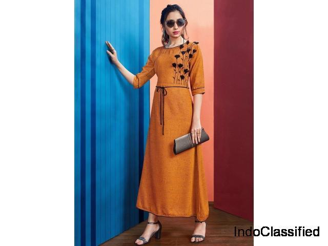 Buy Orange Color Rayon Women's Semi-Stitched Kurti | Zinnga