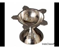 Silver Coated Rose Diya | Silver Pooja Diya | Nutristar