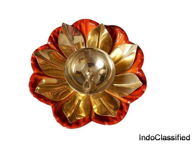 Brass Lotus Shape Diya | Brass Oil Lamp | Nutristar