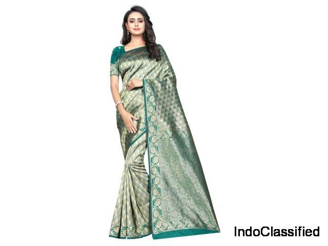Banarasi Silk Jacquard Print Saree With Blouse