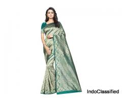 Banarasi Silk Jacquard Print Saree With Blouse