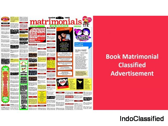 Times of India matrimonial Ad Booking in Mumbai