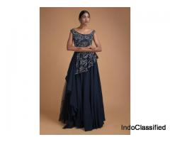 Space Blue Gown With Embellished Asymmetric Peplum Bodice