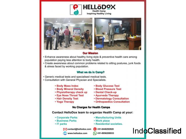 HelloDox organizes free health camp at your society or workplace