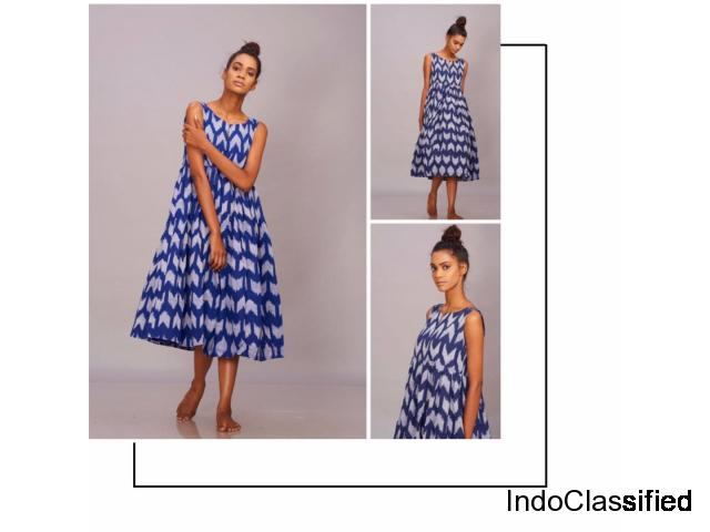 Buy blue handwoven Ikat pleated dress online from Kalamargam