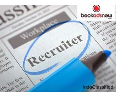 Book Recruitment Ads in Newspaper at Lowest Rate