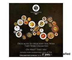 Rooftop restaurants in Ahmedabad for Delicious Unlimited Lunch by Three Quarter Indian