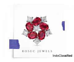 Ruby Diamond Cluster Stud Earring