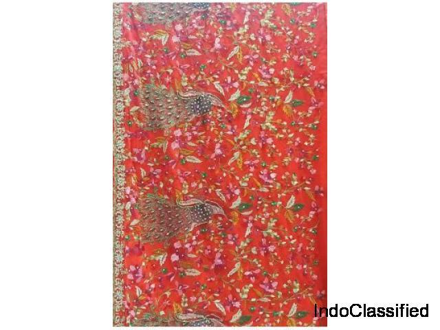 Buy Embroidered Kashmiri Pure Silk Saree | luxurionworld.com