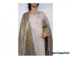 Chanderi Silk Suit   Buy Handloom Chanderi Silk Cotton Suit